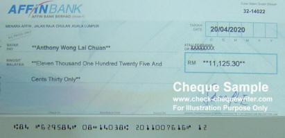 Cheque Sample Malaysia Cheque Writer Software Perisian Menulis Cek