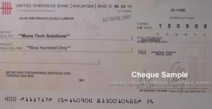 Cheque Sample Malaysia Cheque Writer Software Perisian
